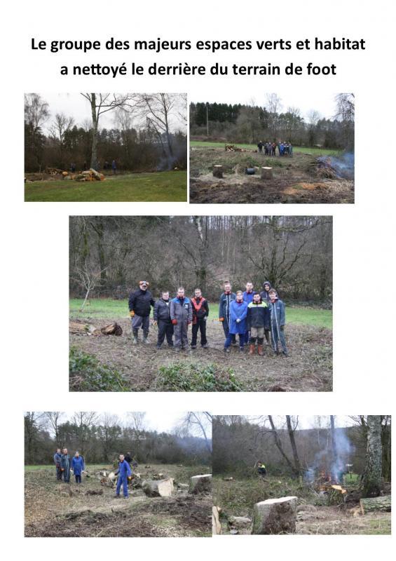 Le groupe des majeurs espaces verts et habitat a nettoye le derriere du terrain de foot