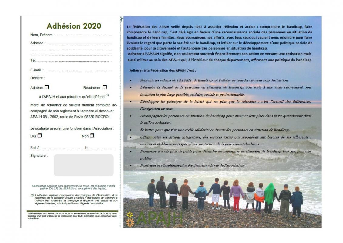 Bulletin d adhesion 2020 1